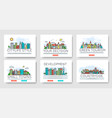 set of city skylines and suburban different vector image