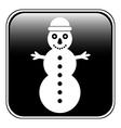 Snowman symbol button vector image vector image