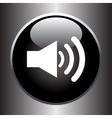 Speaker volume icon on black glass button vector image vector image