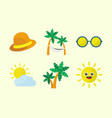 summer time icon set vector image vector image