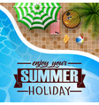 swimming pool umbrella with summer background vector image