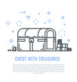 treasure chest line vector image vector image