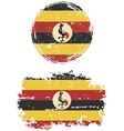 Ugandan round and square grunge flags vector image vector image