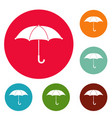 umbrella icons circle set vector image