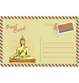vintage postcard with buddha in meditation vector image