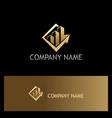 business arrow building gold logo vector image