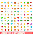 100 grocery shopping icons set cartoon style vector image vector image