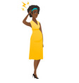 african pregnant woman with lightning over head vector image vector image