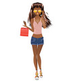 afro american shopping girl vector image vector image