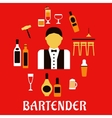 Bartender with cocktails Profession flat concept vector image vector image