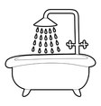 Bath with shower icon outline style vector image vector image