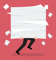 Businessman run holding a lot of documents vector image