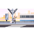 businessman running to catch train business man vector image vector image