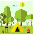camping in woods vector image vector image