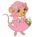 cartoon mouse pink vector image vector image