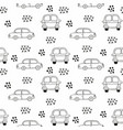 childrens seamless pattern with cars outline vector image
