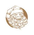 christmas card portrait santa claus vector image vector image