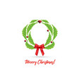 christmas wreath with red bow ribbon vector image vector image