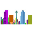 colored cityscape of seattle vector image vector image