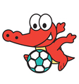 Crocodile Playing Football vector image vector image