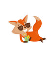 cute cartoon red fox character in sunglasses vector image vector image