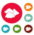 dark cloudy icons circle set vector image vector image