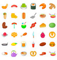 delicious food icons set cartoon style vector image vector image