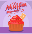 delicious strawberry cupcake social media banner vector image