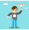 Drone action camera mobile control Geek with vector image
