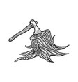 executioner ax stuck in stump sketch vector image