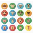 Farm animals flat icon with long shadow vector image