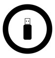 flash drive icon black color in circle vector image vector image