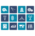 Flat Textile objects and industry icons vector image vector image