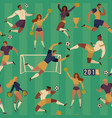 football soccer players cheerleaders fans set of vector image vector image