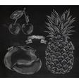 Fruit cherry mango pineapple chalk vector image vector image