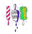 Funny Cartoon Sketch Ice Cream vector image vector image