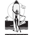girl with surfboard on the beach vector image vector image