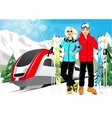 happy couple skiers in mountain resort vector image vector image