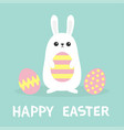happy easter white bunny rabbit painted pattern vector image vector image