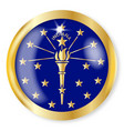 indiana flag button vector image vector image