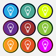Light bulb icon sign Nine multi colored round vector image