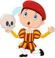 little boy playing hamlet in a school play holdin vector image vector image
