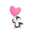 lovely penguin with pink heart-shaped balloon vector image vector image