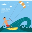 Male Kitesurfer Riding on Waves in the Sea vector image vector image
