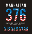 manhattan set number textured flag usa vector image vector image