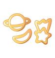 planet star pasta icon cartoon style vector image