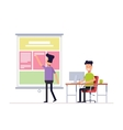 Programmer and designer working in office on the vector image vector image