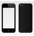 realistic black smartphone with transparent screen vector image