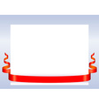 Red ribbon with paper vector image vector image