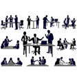 set business people in action silhouettes vector image